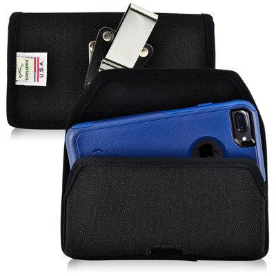 iPhone 8 and iPhone 7 Nylon Holster Horizontal Metal Belt Clip Fits Otterbox Commuter