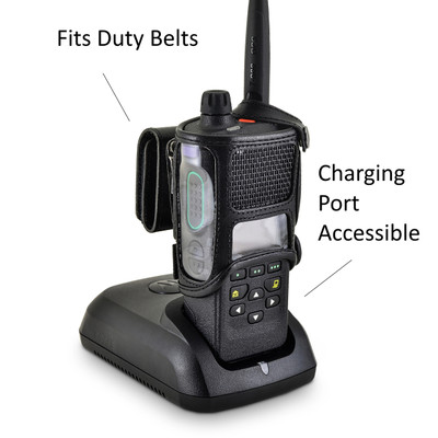 Motorola APX 4000 Single Knob Radio Duty Belt Carry Holder Case Black Leather Holster with Heavy Duty Rotating Belt Clip