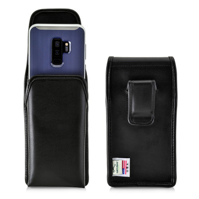 Galaxy S9 Plus / S8 Plus Leather Vertical Holster Case Black Belt Clip