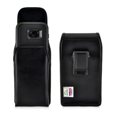 S7 Edge Leather Vertical Holster Black Clip Fits Otterbox Defender