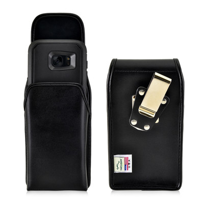 S7 Edge Leather Vertical Holster Metal Clip Fits Otterbox Defender