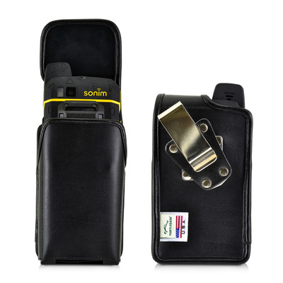 Sonim XP7 Koamtac Scanner Black Leather Holster Pouch Rotating Removable Metal Belt Clip By Turtleback