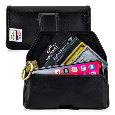 iPhone X Credit Card Belt Clip Holster Case with D Ring, Executive Belt Clip, Black Leather Pouch, Horizontal