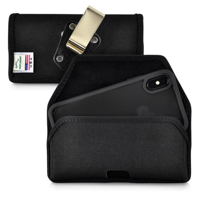iPhone XS (2018) & iPhone X(2017) Belt Clip Horizontal Holster Case Black Nylon Pouch Heavy Duty Rotating Clip