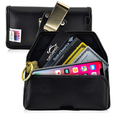 iPhone X Credit Card Belt Clip Holster Case with D Ring, Black Leather Pouch with Heavy Duty Rotating Belt Clip, Horizontal