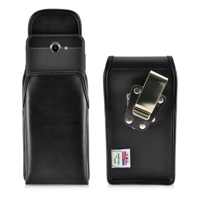 Galaxy J7 2017 Prime, Perx, Halo Holster, SLIM Vertical Black Leather Belt Clip