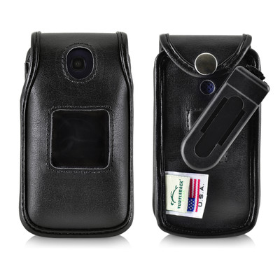 Consumer Cellular Alcatel GO FLIP, ATT FLIP2, T-mobile 4044W Black LEATHER Fitted Case Removable Belt Clip