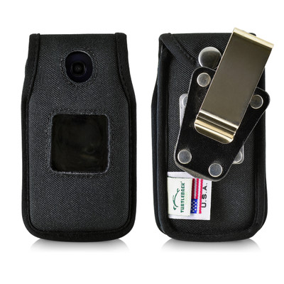 Consumer Cellular Alcatel GO FLIP, ATT FLIP2, T-mobile 4044W Black LEATHER Fitted Case Metal Removable Belt Clip