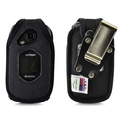 Kyocera DuraXV LTE Verizon E4610 Flip Phone FITTED CASE Black Nylon Metal Ratcheting Removable Clip