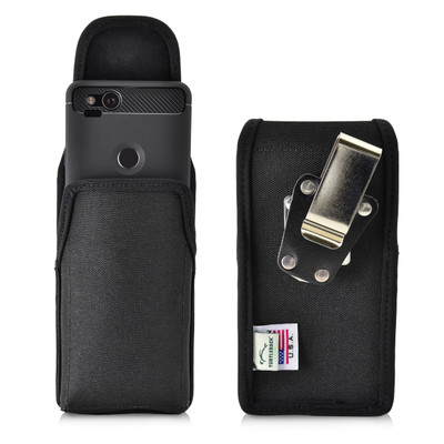 Google Pixel 2 Belt Case Fits Slim Case Vertical Black Nylon Heavy Duty Rotating Belt Clip