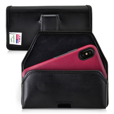iPhone X Holster fits OTTERBOX COMMUTER SYMMETRY Case Black Belt Case Leather Belt Clip Horizontal