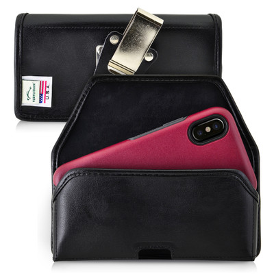 iPhone X Belt Case fits OTTERBOX COMMUTER SYMMETRY Case Black Leather Holster Rotating Belt Clip, Horizontal