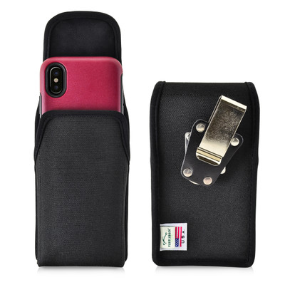 iPhone X Belt Clip Case fits OTTERBOX COMMUTER SYMMETRY Case Vertical Holster Black Nylon Rotating Belt Clip