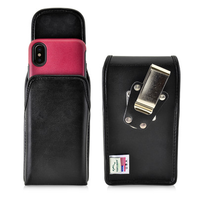 iPhone X Belt Case fits OTTERBOX COMMUTER SYMMETRY Case Vertical Holster Black Leather Rotating Belt Clip