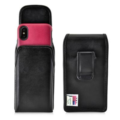 iPhone X Holster fits OTTERBOX COMMUTER SYMMETRY Case Vertical Belt Case Black Leather Belt Clip