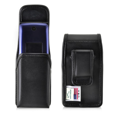 Consumer Cellular Alcatel GO FLIP, ATT Flip2, T-Mobile 4044W Black LEATHER Magnet Closure Executive Belt Clip