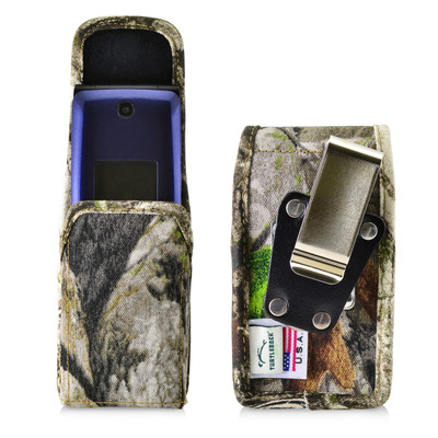 Consumer Cellular Alcatel GO FLIP, ATT Flip2, T-Mobile 4044W CAMO NYLON Magnet Closure Rotating Belt Clip