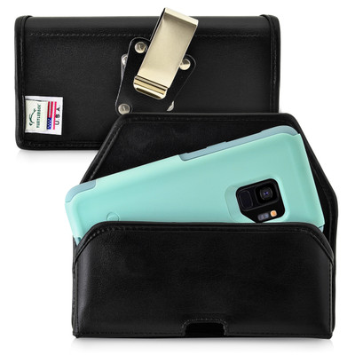 Galaxy S9 Belt Case for Otterbox COMMUTER Case Rotating Belt Clip Black Leather Pouch