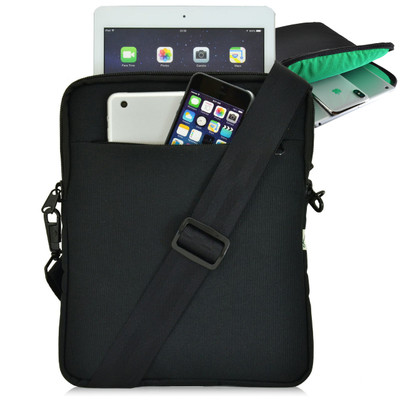 "Turtleback Universal Tablet Pouch Shoulder Bag, Fits devices 10.5"", Black / Green"