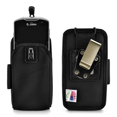 Zebra Motorola TC51/TC56 TC510K Touch Mobile Computer Nylon Holster, 2 Belt Clips (Metal Clip & Belt Loop)