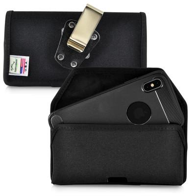 iPhone XS MAX (2018) Belt Clip Horizontal Holster Case Black Nylon Pouch Heavy Duty Rotating Clip