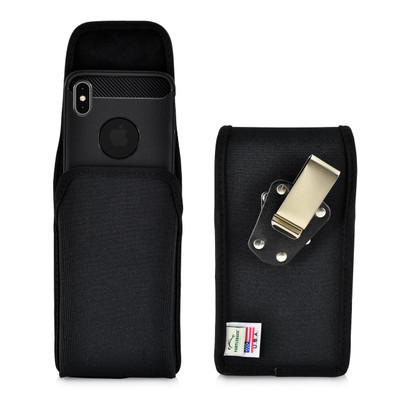 iPhone XS MAX (2018) Belt Clip Vertical Holster Case Black Nylon Pouch Heavy Duty Rotating Clip