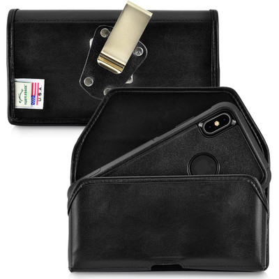 iPhone XS MAX (2018) Fits with OTTERBOX COMMUTER Black Leather Holster Pouch Rotating Belt Clip Horizontal