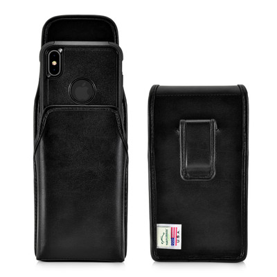 iPhone XS MAX (2018) Fits with OTTERBOX COMMUTER Vertical Belt Case Black Leather Pouch Executive Belt Clip