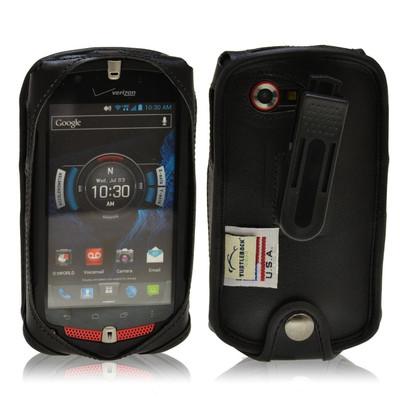 Casio GZ1 Commando 4G LTE C811 Black Leather Case with Ratcheting Belt Clip