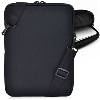 Essential Gear Vertical Padded Sleeve Slip Case with Removable Strap for Laptop 11 inch, Macbook, Black (11.6 inch, Black Interior)
