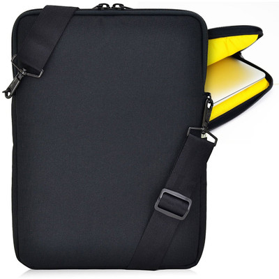 Essential Gear Vertical Padded Sleeve Slip Case with Removable Strap for Laptop 11 inch, Macbook, Black (11.6 inch, Yellow Interior)
