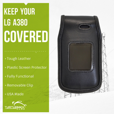LG A380 Heavy Duty Black Leather Phone Case with Rotating Metal Belt Clip