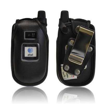 Motorola Tundra va76r Black Leather Case with Rotating Belt Clip