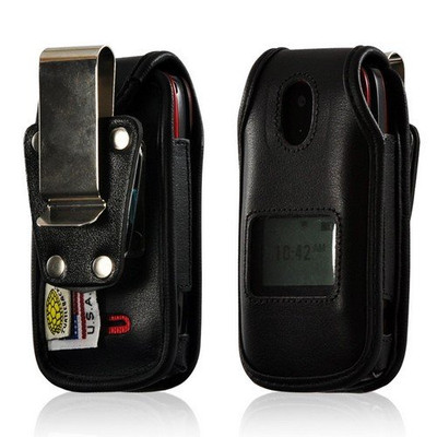 Motorola WX416  Heavy Duty Leather Phone Case with Removable Metal Clip