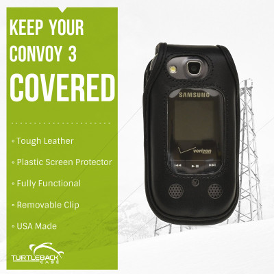 Samsung Convoy 3 U680  Heavy Duty Leather Case with Removable Metal Clip