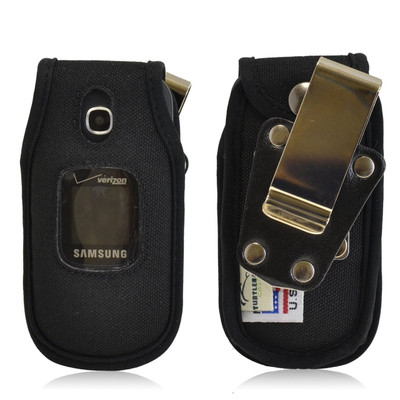 Samsung Gusto 3 Heavy Duty Nylon Flip Phone Case with Removable Metal Clip