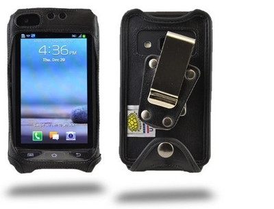 Samsung Rugby Pro Black Leather Case Rotating Removable Metal Clip