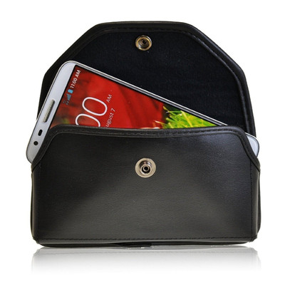Horizontal Leather Extended Holster for LG G2 with Bulky Cases, Metal Belt Clip, Snap Closure