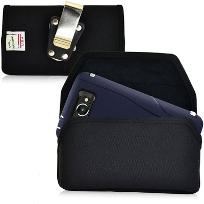 Horizontal Nylon Extended Holster for Motorola Droid Turbo with Bulky Cases, Metal Belt Clip