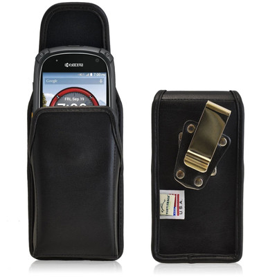 Kyocera Torque XT E6710 Vertical Leather Holster, Metal Belt Clip