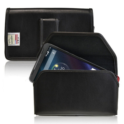 Motorola Droid Turbo Horizontal Leather Holster, Black Belt Clip