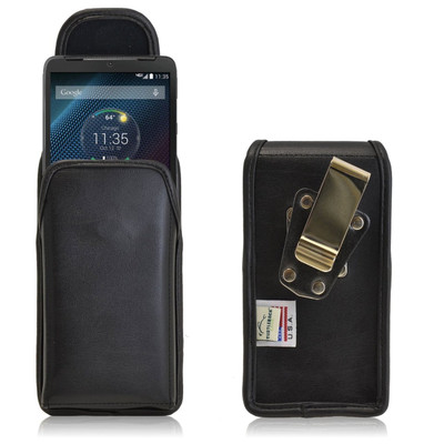 Motorola Droid Turbo Vertical Leather Holster, Metal Belt Clip