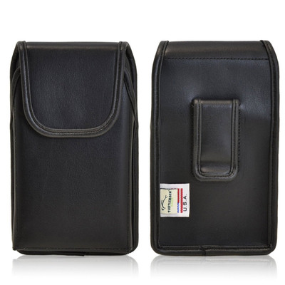 Vertical Leather Extended Holster for HTC One M8 with Bulky Cases, Black Belt Clip