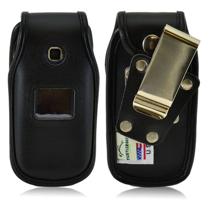 LG 450 Heavy Duty Black Leather Phone Case with Rotating Metal Belt Clip