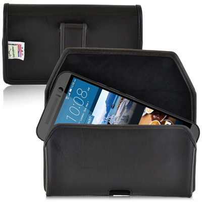 HTC One M9 Horizontal Leather Holster, Black Belt Clip