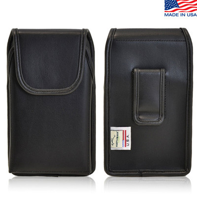 5.50 X 3.00 X 0.50in - Vertical Leather Holster, Black Belt Clip