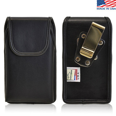 5.00 X 2.37 X 0.50in - Vertical Leather Holster, Metal Belt Clip