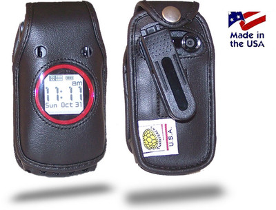Casio Gzone Ravine C751 Executive Black Leather Case with Ratcheting Belt Clip