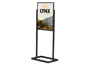 "The PERFORM poster frame display is a heavy duty stand built to fit 22""w x 28""h posters – double sided."