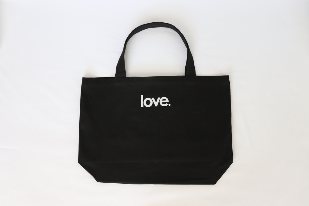 HEART BLACK CANVAS TOTE with LOVE. on back.